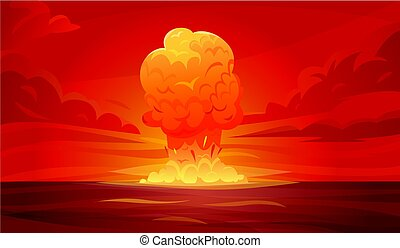 Nuclear Explosion Composition - Colored red nuclear...