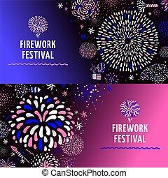 Festive Firework 2 Banners Set - Festive firework radial...