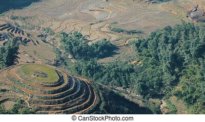 Terraced mountains in Sa Pa - View at terraced mountains in...