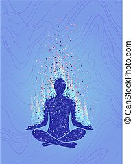 Concept of meditation, enlightenment. Human sitting in a...