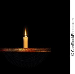 burning candle with stand and black veil