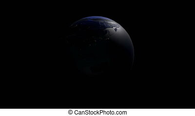 A realistic globe at night. The rotating Earth. Technology, business, transportation, communications and social networking.