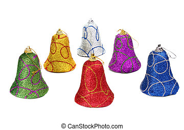 colors handbell decoration for a new-year tree isolated on...