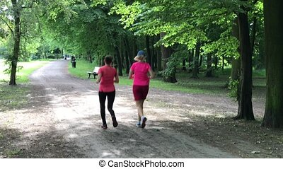 Young female joggers in the park