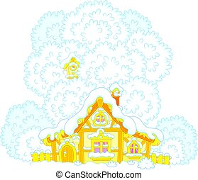 Snow-covered small hut - Vector illustration of a small...