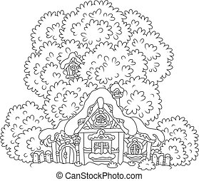 Snow-covered small hut - Black and white vector illustration...