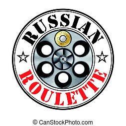 Revolver - russian roulette game - risk concept