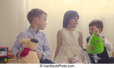 Group of children with stuffed toys - Group of children...