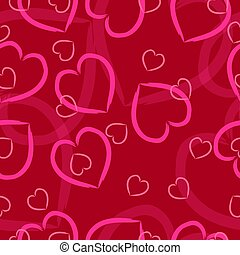 pink hearts on a red background