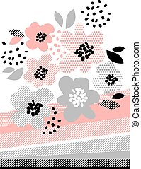 romantic pale color floral design element vector illustration. flower with geometric pattern for header, card, poster, print and web projects