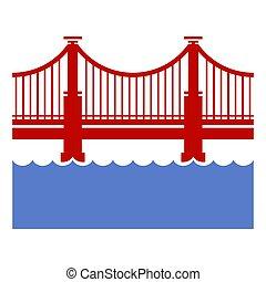 Red Bridge Icon over River. Vector