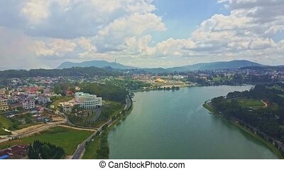 Fantastic Aerial View Quiet Lake with City on Bank -...