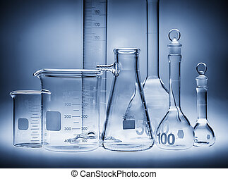 Glass laboratory containers in blue