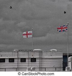 anglia, na, przelotny, dwa, brytyjski, wrony, bandery, Kent,...