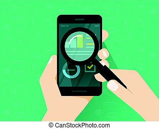 Analytics data on mobile phone screen analysing with...