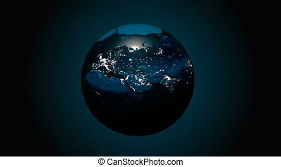 A realistic globe at night. The rotating Earth. Technology, business, transportation, communications and social networking. 4k