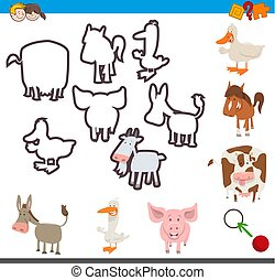 educational activity of matching shapes - Cartoon...