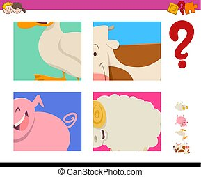 guess farm animals activity game - Cartoon Illustration of...