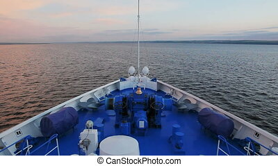 Bow of the ship sailing up the river - Time lapse video of...