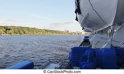 Lifeboat on board a passenger steam-ship on the Volga river....