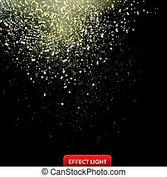 Vector illustration of a falling shiny golden glitters, confetti, sparks