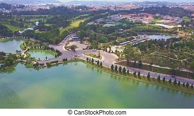 Drone Flies over Wonderful Tranquil Lake and Road - drone...