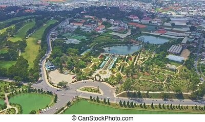 Aerial View Wonderful Modern City with Large Parks and Lake...