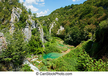 Plitvice Lakes - view in the Plitvice Lakes National Park,...