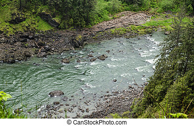 Snoqualmie River in Washington - Rapids in Snoqualmie River...