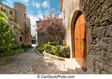 Garden in Peratallada, Spain - Summer garden in the medieval...