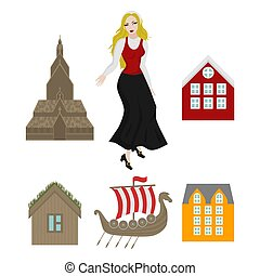 City sights icons. Norway landmark. Flat travel elements....