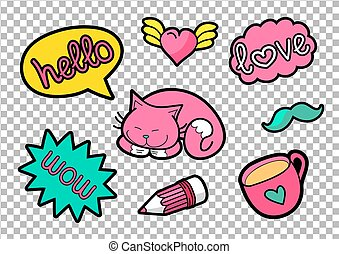 Vector colorful quirky patches set. Pin trendy decoration...