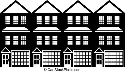 Townhouse with Tandem Garage Black and White Illustration -...