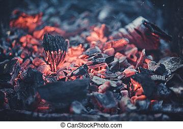CARBONES,  Campfire, ardiendo fuego lento, Barbacoa