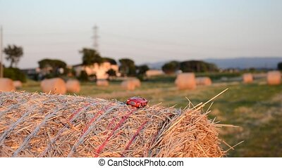 Car on a straw bale - Driving a car on a straw bale