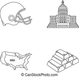 Football player s helmet, capitol, territory map, gold and foreign exchange. USA Acountry set collection icons in outline style vector symbol stock illustration web.