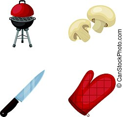 Barbeque grill, champignons, knife, barbecue mitten.BBQ set collection icons in cartoon style vector symbol stock illustration,web