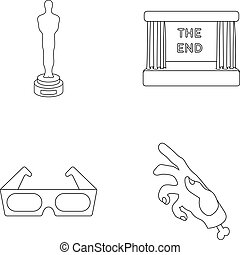Award Oscar, movie screen, 3D glasses. Films and film set collection icons in outline style vector symbol stock illustration web.