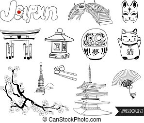VECTOR set of japanese doodles. outline drawings isolated on...