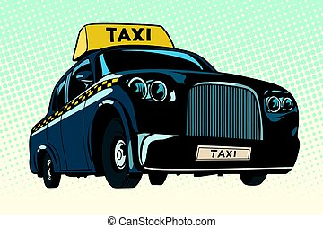 Black taxi with a yellow sign