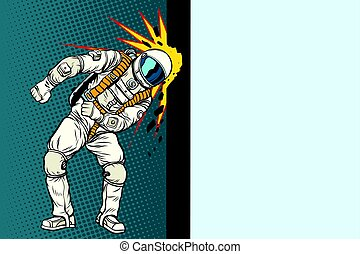 Cosmonaut knocks head on the wall. Dream of mankind. Pop art...