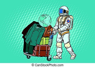 Astronaut traveler with baggage cart. Pop art retro vector...