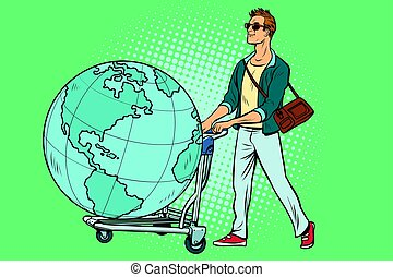 man tourist with a Luggage cart with the planet Earth. Pop...
