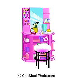 Woman dressing table with mirror, chair and cosmetic. Flat style vector illustration.