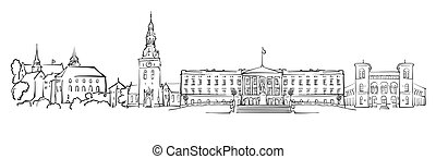 Oslo, Norway, Panorama Sketch, Monochrome Urban Cityscape...