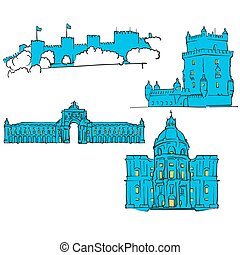Lisbon, Portugal, Colored Landmarks, Scalable Vector...
