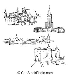 Warsaw, Poland, Famous Buildings, Monochrome Outlined Travel...
