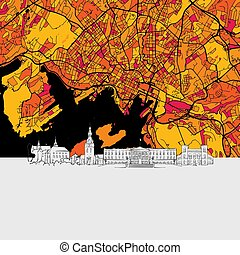 Oslo, Norway, Skyline Map, Modern Colourful Art Print with...