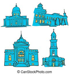 Chisinau, Moldova, Colored Landmarks, Scalable Vector...