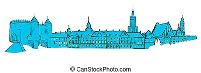 Warsaw, Poland, Colored Panorama, Filled with Blue Shape and...